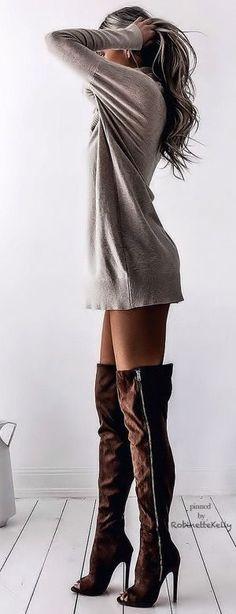 Sweatshirt dress long sleeve tshirt long sleeve shirt sweater dress with brown thigh high boots suede boots over the knee boots heels booties #highheelbootslingerie