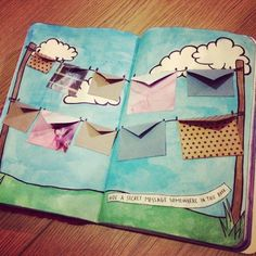 art, artistic, book, clouds, color, colorful, colour, colourful, craft, creative, diy, draw, drawing, envelopes, hidden, keri smith, letters, paint, secret, wreck this journal