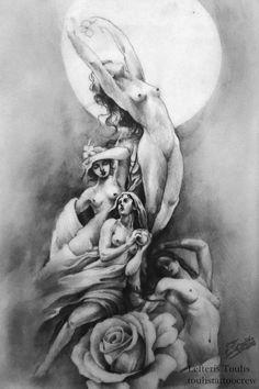 the nymphs  artist Lefteris Toulis A4 fine arts sketch art black n white