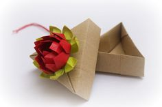 Origami gift box with lotus flower. MilleGrudicarta via Etsy.