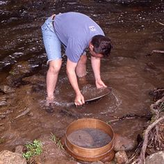 Finding gold in your backyard is unlikely unless you live in an area known for gold production, but it is worth a try. Whether or not you find gold, learning the basics of panning for gold can be . Gold Sluice, Gold Mining Equipment, Gold Deposit, Gem Hunt, Panning For Gold, Gold Prospecting, Rock Hunting, Metal Detecting, Camping
