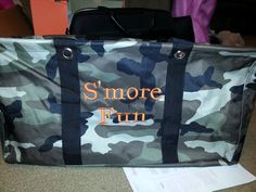 Cute personalization for camping on the Large Utility Tote! I have an Out N About Thermal with the Camo/Orange combo & love it!