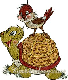 10149 Turtle and sparrow machine embroidery - A cute Turtle and Sparrow classic machine embroidery design. The design is also available as part of the 10151 Turtle sparrow snail machine embroidery set. Frosch Illustration, Turtle Quilt, Tortoise Turtle, Cute Turtles, Fabric Pictures, Bugs And Insects, Free Machine Embroidery Designs, Cross Stitching, Ladybug