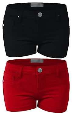 Emmalise Women's Summer Casual Stretchy Shorts (Large, Black Red 2Pk) -- Visit the image link more details. We are a participant in the Amazon Services LLC Associates Program, an affiliate advertising program designed to provide a means for us to earn fees by linking to Amazon.com and affiliated sites.