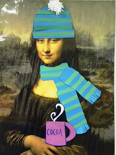 For the Love of Art: Art Room: Mona Lisa in Winter. Change her accessories for each season.