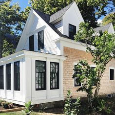any house on cape cod will do, but this recently renovated gem in wellfleet has me all ! #blackwindowframes #cedarshake
