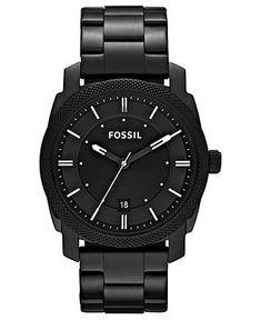 Fossil Watch, Men's Machine Black Tone Stainless Steel Bracelet 42mm FS4775 - Men's Watches - Jewelry & Watches - Macy's