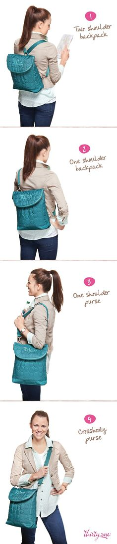 The New Thirty one Vary you Backpack purse - Wear it four different ways. On sale this in August for - $32.50 when you spend 35. To Order:   https://www.mythirtyone.com/shop/productdetail.aspx?prod=4196