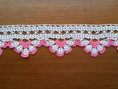 Items similar to SALE! Towel Edge (Pink and White) - Lace Edge Crocheted Cotton Towel Trim - Crochet Home Decor - Crochet Edge on Etsy Granny Square Crochet Pattern, Crochet Borders, Crochet Diagram, Crochet Motif, Diy Crochet, Crochet Designs, Crochet Stitches, Doily Patterns, Craft Patterns