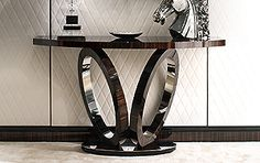 Console Tables - ELLIPTICAL RINGS MACASSAR EBONY CONSOLE ART 515N