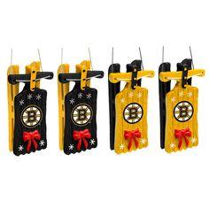 Boston Bruins NHL Sleigh Ornament 4 pack