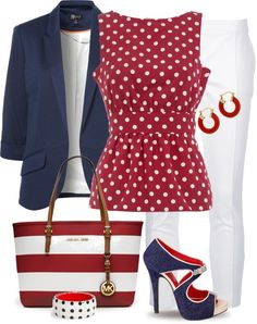"Outfit Navy Polka Dot Stripes ""Blue, Red & White"" by yasminasdream on Polyvore"