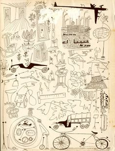 "all in line endpapers from saul steinberg's 1945 book ""all in line"""