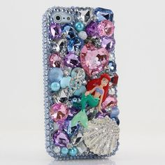 iPhone 5 5S 5C 4/4S - Samsung Galaxy S3 S4 Note2 3 Handcrafted Case Cover 3D Luxury Bling Crystal Sparkle Blue Pink Shell Mermaid Ariel_241