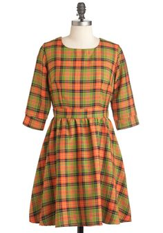 Girls Got Plaid-itude Dress - Orange, Green, Black, Plaid, Casual, A-line, 3/4 Sleeve, Fall, Mid-length, Vintage Inspired, 70s from Modcloth