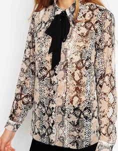 835ad4d27bb Image 3 of ASOS Contrast Tie Snake Print Blouse