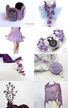 Purple summer treasury featuring handmade purple crystals bracelet watch by Ooh-la-la Beadtique