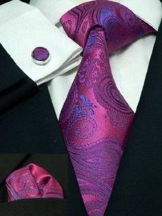Men's Paisley Pink 100% Silk Neck Tie Set The Dapper Tie 74G