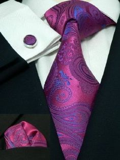 Men's Paisley Pink 100% Silk Neck Tie Set The Dapper Tie 74G