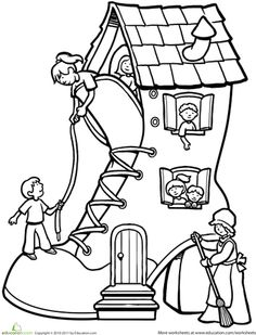 Worksheets: There Was an Old Woman Who Lived in a Shoe...