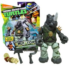 """Playmates Year 2015 Teenage Mutant Ninja Turtles TMNT """"Mutations Mix and Match"""" Series 5-1/2 Inch Tall Action Figure - ROCKSTEADY with Mallet, Hook and 1 Extra Turtle Right Arm"""