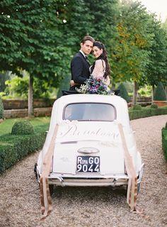 Jose Villa Photography, Wedding Inspiration, Wedding Getaway Car