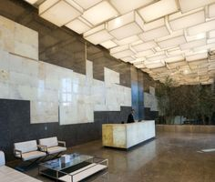 cool lobby space. love the ceiling lighting.