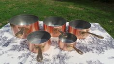 Copper Pans Made in France Set of Five Vintage French Copper 1mm Dark Tin, Cast…