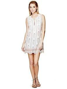 Aubry Lace-Up Dress | GUESS.com