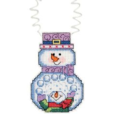 "Holiday Wizzers Snowman With Snowballs Counted Cross Stitch -3""X2.25"" 14 Count"