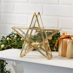 Two's Company Star Tealight Candlehodler. Wish Upon a Star Tealight Candleholder - Glass/Brass – Modish Store Star Candle, Scottish Gifts, Two's Company, Confirmation Gifts, Star Decorations, Star Ornament, Gift Hampers, Tealight Candle Holders, Christmas Time