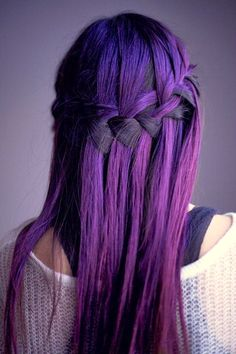 Purple ombre hair in a waterfall braid. I want dark purple hair! Hairstyles Haircuts, Pretty Hairstyles, Braided Hairstyles, Style Hairstyle, Wedding Hairstyles, Hairstyle Ideas, Amazing Hairstyles, Ladies Hairstyles, Quick Hairstyles