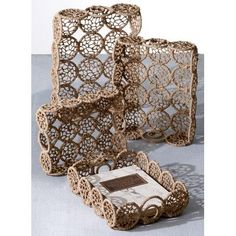 Kindwer 4 Piece Weaved Jute Rectangle Basket Set