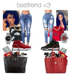 """""""bestfriend♥️"""" by makaelahangelah ❤ liked on Polyvore featuring NIKE, Mark & Graham, Gucci, MCM and Rolex"""