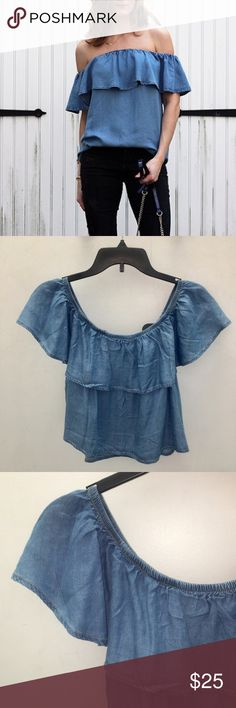 💐20% OFF Bundles💐Denim Chambray Ruffle Crop Top 💐20% OFF Bundles💐Denim Chambray Cotton Ruffle Crop Top Blouse. Multi Way wear on the shoulder or off. Pairnitnwith high waisted shorts or pants and ankle booties. Tops Crop Tops