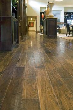 Love the wide plank distressed hardwood floor for my Kitchen, Great Room and Dining area. Style At Home, Distressed Hardwood Floors, Dark Hardwood, Hickory Flooring, Wood Flooring, Floor Colors, Wide Plank, My Dream Home, Dream Land