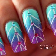 How to create striping tape gradient nails via @Guidecentral - Visit www.guidecentr.al for more #DIY #tutorials
