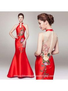 e385fad78 Chinese qipao inspired cherry blossom floral embroidered white and ...