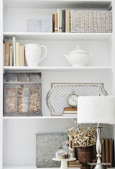 White Built-In Living Room Cabinets, Vintage Decor, Ideas How to Style your Shelves