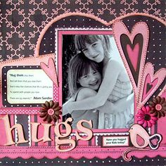 Hugs scrapbook layout. Baby blue instead of pink.