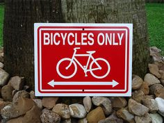 Bicycle Sign 12x9 inches Bicycles Only Aluminum by AuthenticSigns, $12.95