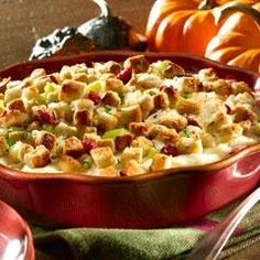 Turkey Casserole- 4 Cups leftover stuffing, 4 Cups coarsely chopped leftover turkey, 3/4 Cup Mayo, 1/4 Cup whole berry cranberry sauce, 2 Cups prepared mashed potatoes, 1 1/2 Cups shredded mozzarella cheese (375 F for 40 min)