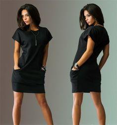 Short Sleeves Solid Color Scoop Short Dress with Pocket