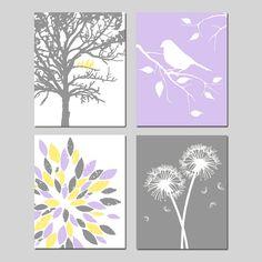 Yellow Purple Grey Gray Baby Girl Nursery Art Quad  by Tessyla