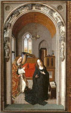 Dirk Bouts the Elder (ca Triptych of the Virgin (ca Annunciation, oil on wood, cm. Medieval Paintings, Renaissance Paintings, Madonna, Renaissance Kunst, Free Art Prints, Art Database, Oil Painting Reproductions, Sacred Art, Religious Art