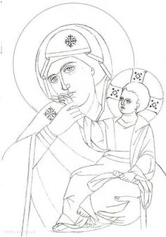Mary and Child icon pattern Religious Icons, Religious Art, Christian Drawings, Writing Icon, Coloring Books, Coloring Pages, Holly Pictures, Arte Punk, Paint Icon