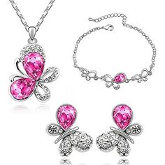 HSG rosa tropfenfoermigen Kristall zarte Schmetterling Schmuck Sets-Love Princess Halskette Ohrringe Armband - http://schmuckhaus.online/hsg/hsg-rosa-tropfenfoermigen-kristall-zarte-sets