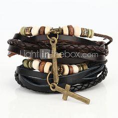 Hommes Noir//Marron cuir Jésus Croix Bracelet Bangle Mari Anniversaire Anniversaire