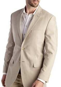 Saddlebred TanKhaki Classic-Fit Tan Chambray Sport Coat