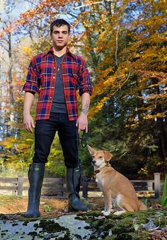 Beautiful plaid fella with dog in woods Smart Boy, Boy Best Friend, Wellies Boots, Man And Dog, Wellington Boot, Country Boys, High Boots, Leather Men, Sexy Men